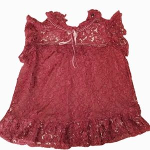 Lace Burgundy Frilly  Top Size Medium